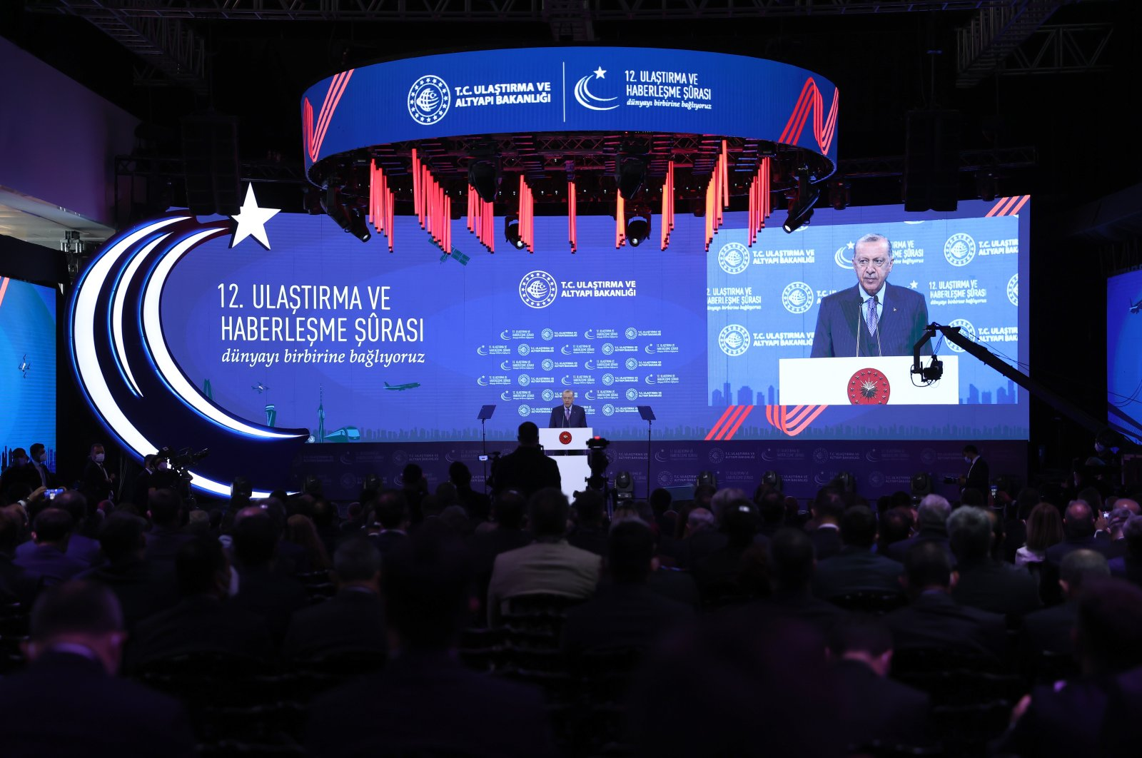 President Recep Tayyip Erdoğan speaks at the 12th Transport and Communication Council held at Atatürk Airport, Istanbul, Turkey, Oct. 8, 2021. (AA Photo)