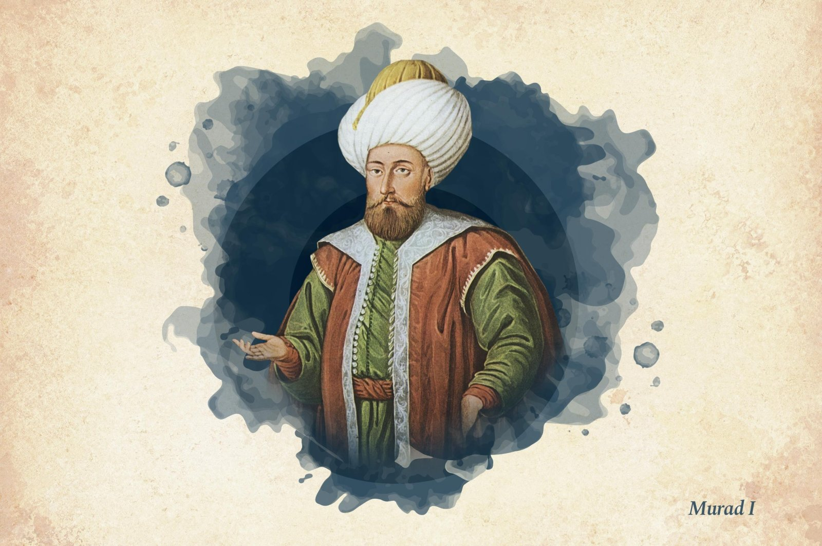 This widely used illustration painted by court painter Konstantin Kapıdağlı in the early 19th century shows Sultan Murad I,the third ruler of Ottoman beylik that turned into an empire. (Wikimedia / edited by Büşra Öztürk - Daily Sabah)