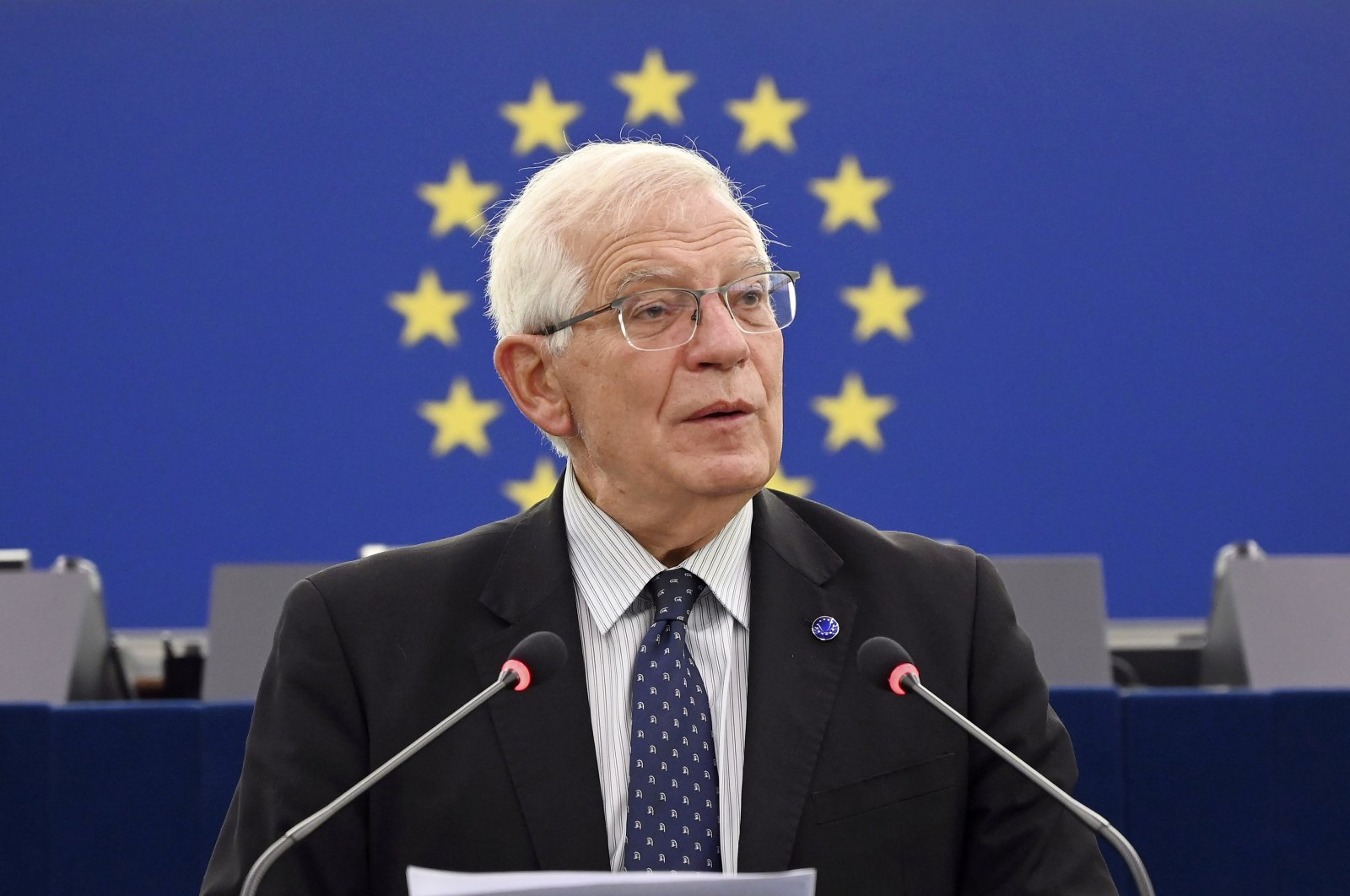 EU foreign policy chief Josep Borrell delivers a speech during a debate on the future of EU-U.S. relations as part of a plenary session at the European Parliament in Strasbourg, France, Oct. 5, 2021. (REUTERS Photo)