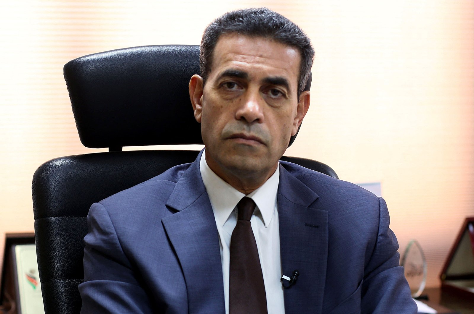 Imad al-Sayeh, head of Libya's High National Election Commission (HNEC), pauses during an interview with AFP in Tripoli, Libya, on Oct. 5, 2021. (AFP Photo)