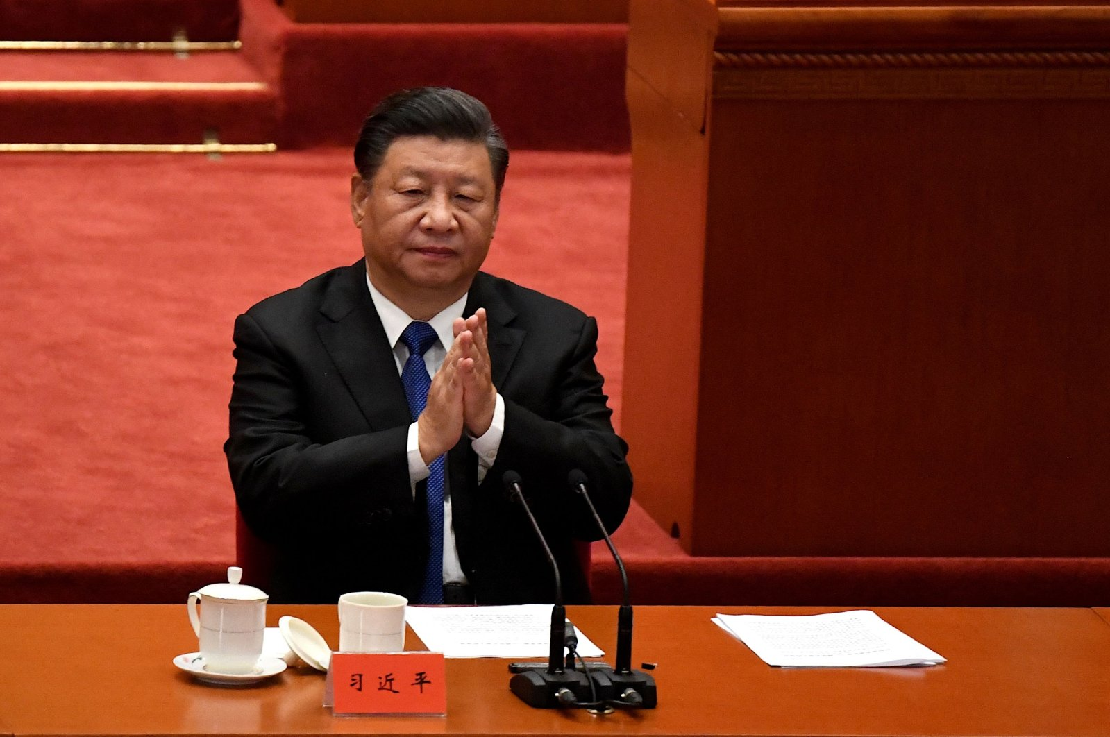 Chinese President Xi Jinping attends the commemoration of the 110th anniversary of the Xinhai Revolution, which overthrew the Qing Dynasty and led to the founding of the Republic of China, at the Great Hall of the People in Beijing, China, Oct. 9, 2021. (AFP Photo)
