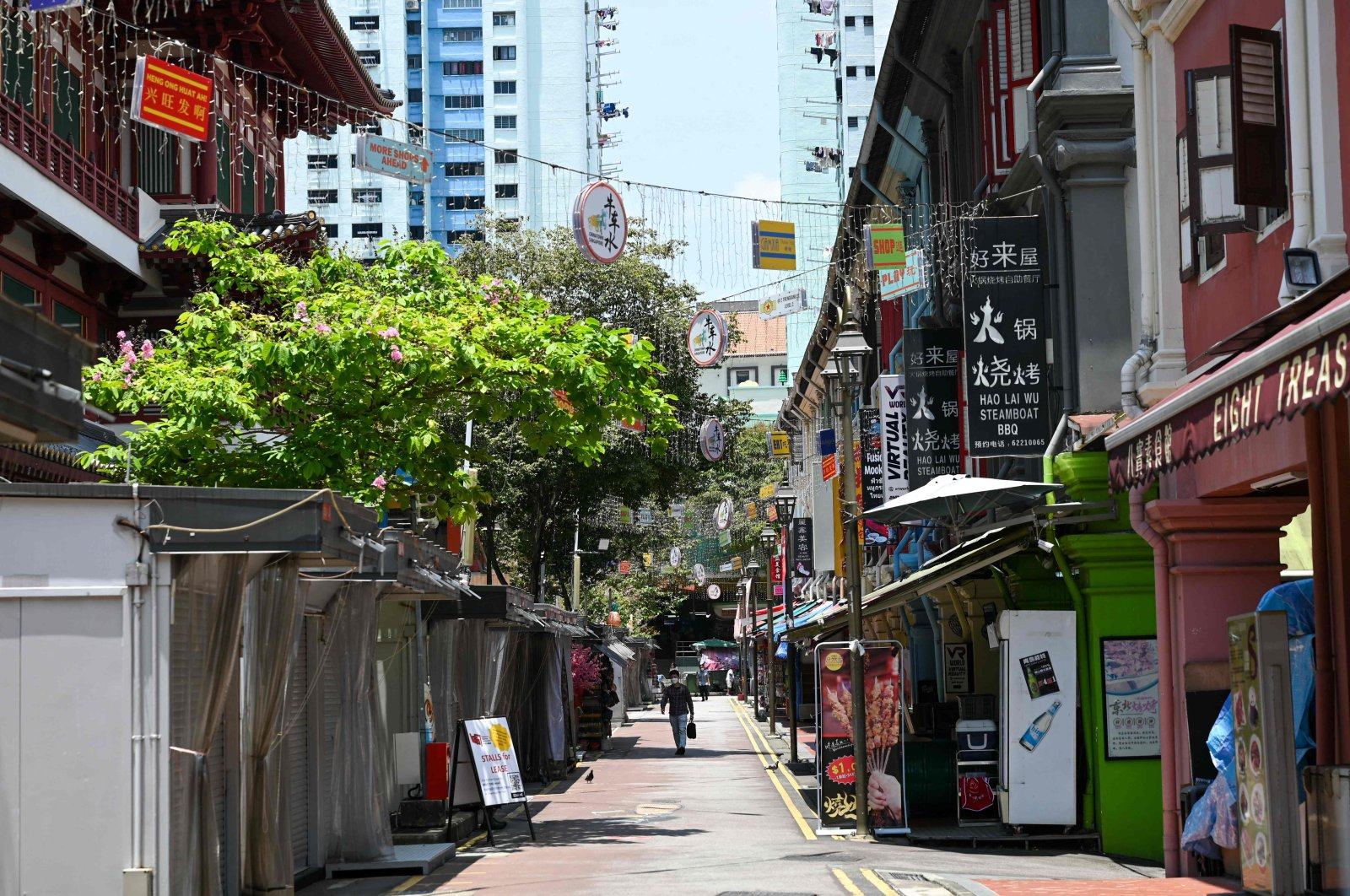 A quiet street in the Chinatown district in Singapore on Oct. 4, 2021. (AFP Photo)
