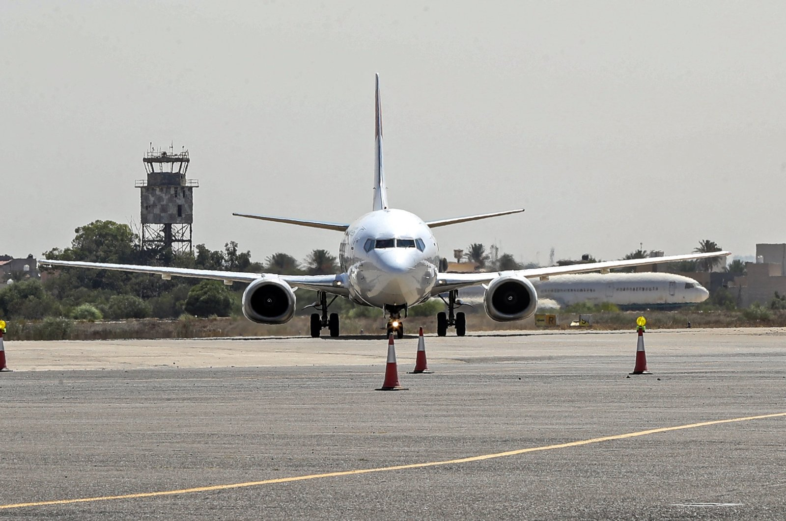 A Boeing 737 aircraft on the tarmac at Libya's Mitiga International Airport, east of the capital Tripoli, Sept. 20, 2021. (AFP Photo)
