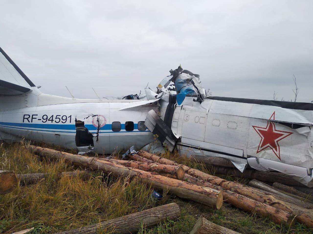 The wreckage of the L-410 plane is seen at the crash site near the town of Menzelinsk in Tatarstan republic, Russia, Oct. 10, 2021. (Russia's Emergencies Ministry via Reuters)