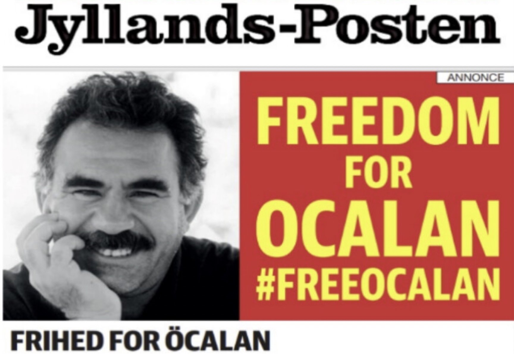 The advertisement calling for the freeing of PKK terrorist ringleader Abdullah Öcalan is seen in this screenshot of the Jyllands-Posten newspaper's digital edition (Credit: Jyllands-Posten)
