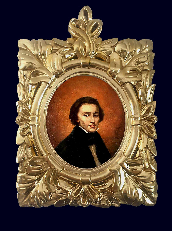 A view of a renovated portrait of Polish composer Frederic Chopin. (Jaroslaw Golebiowski via AP)