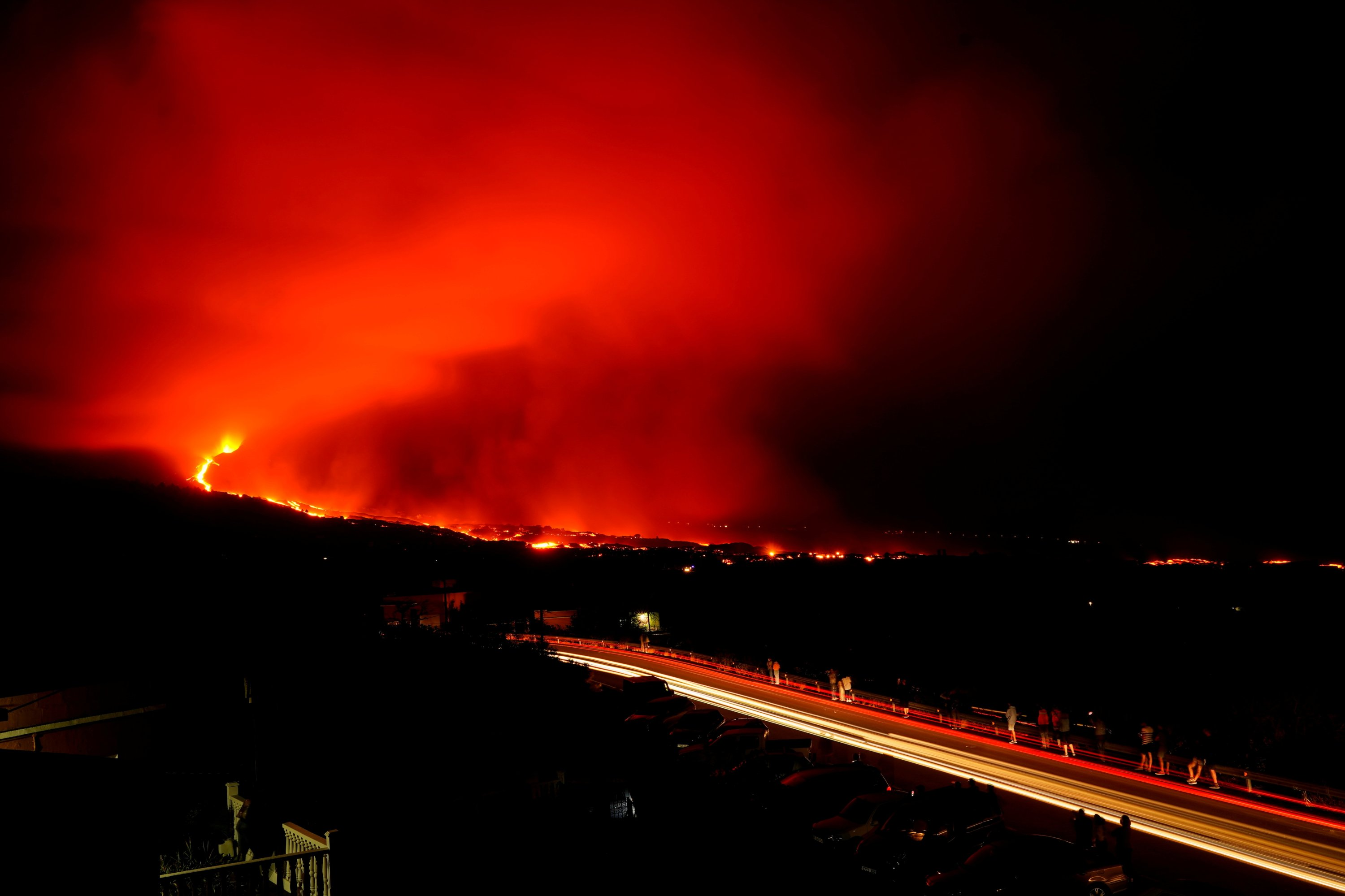 The Cumbre Vieja volcano continues to erupt on the Canary Island of La Palma, as seen from Tajuya, Spain, Oct. 9, 2021. (Reuters Photo)