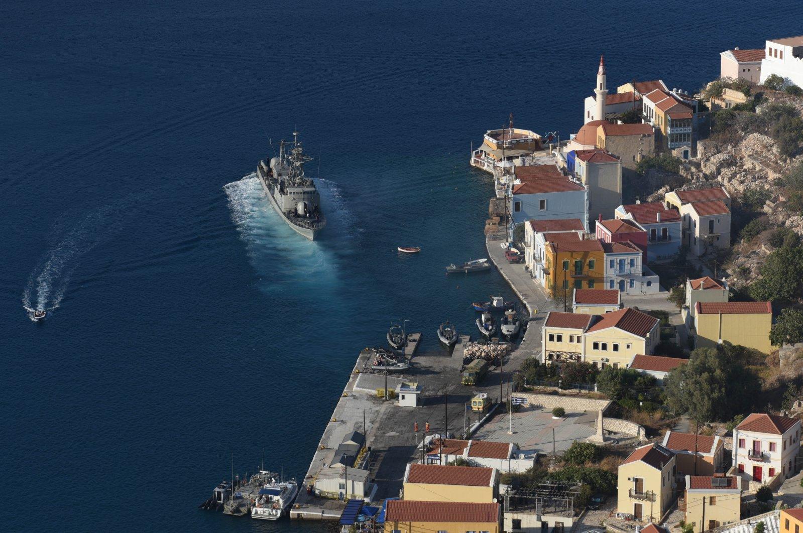 A Greek navy warship off the island of Kastellorizo (Megisti-Meis), Aegean region, Greece, Sept. 8, 2020. (Reuters Photo)