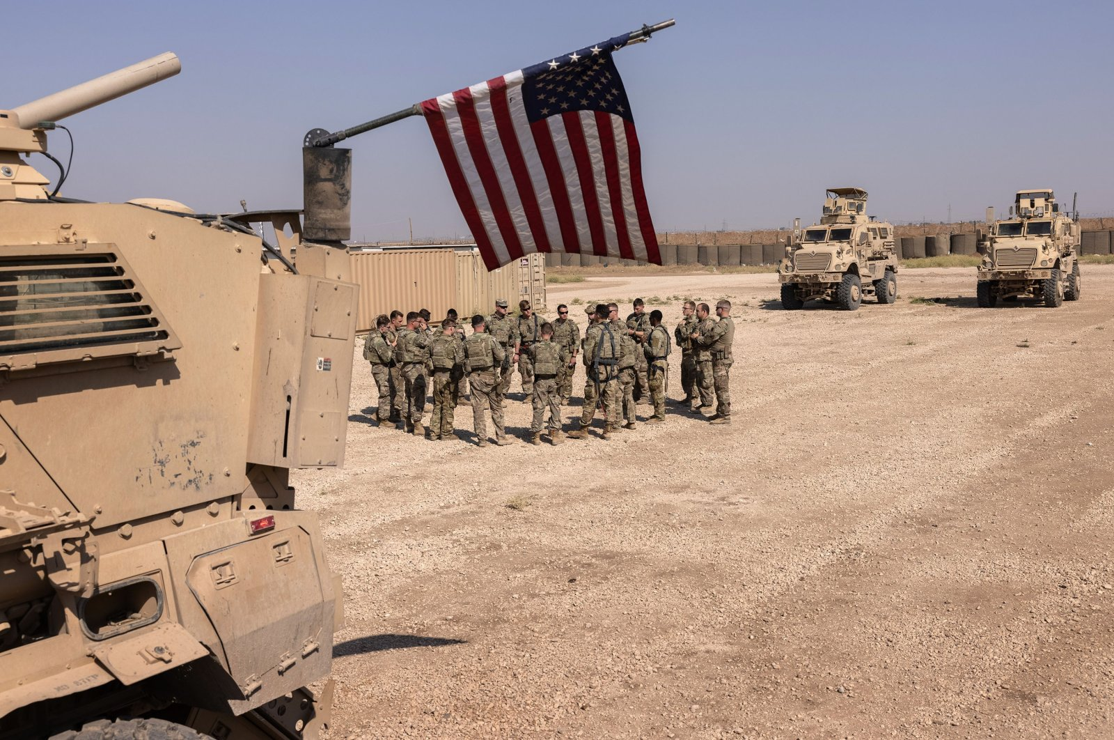 U.S. soldiers prepare to go out on patrol in coordination with YPG terrorists from a remote combat outpost in northeastern Syria, May 25, 2021. (Getty Images)