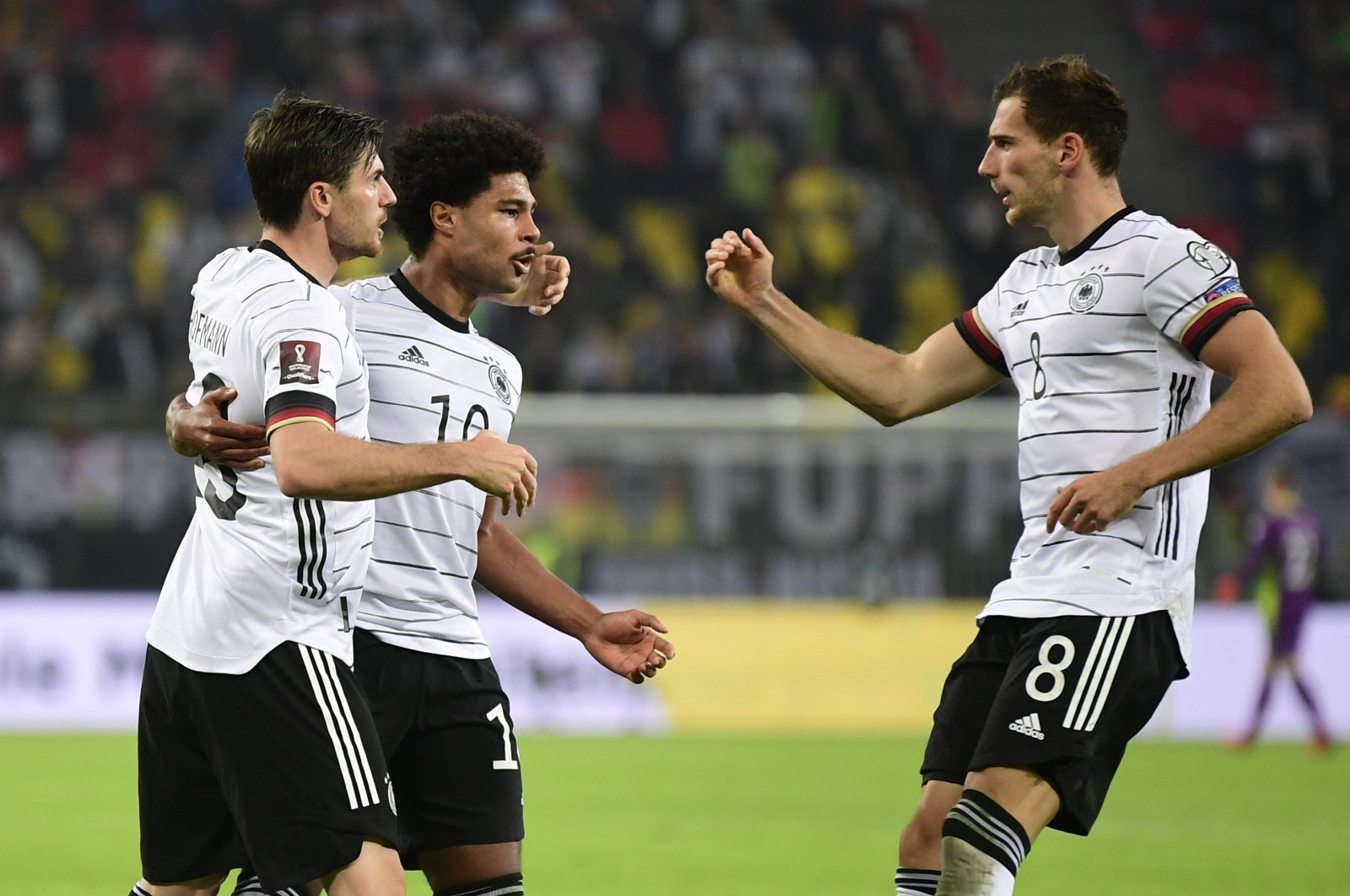Germany's Serge Gnabry celebrates scoring against Romania in a UEFA World Cup qualifier at Hamburg, Germany, Oct. 8, 2021. (Reuters Photo)