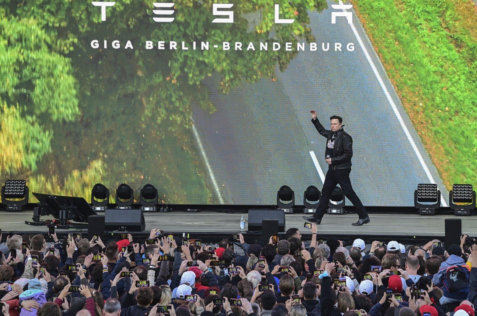 Elon Musk, Tesla CEO, arrives at an open house at the Tesla Gigafactory in Gruenheide, east of Berlin, Germany, Oct. 9, 2021. (dpa via AP)