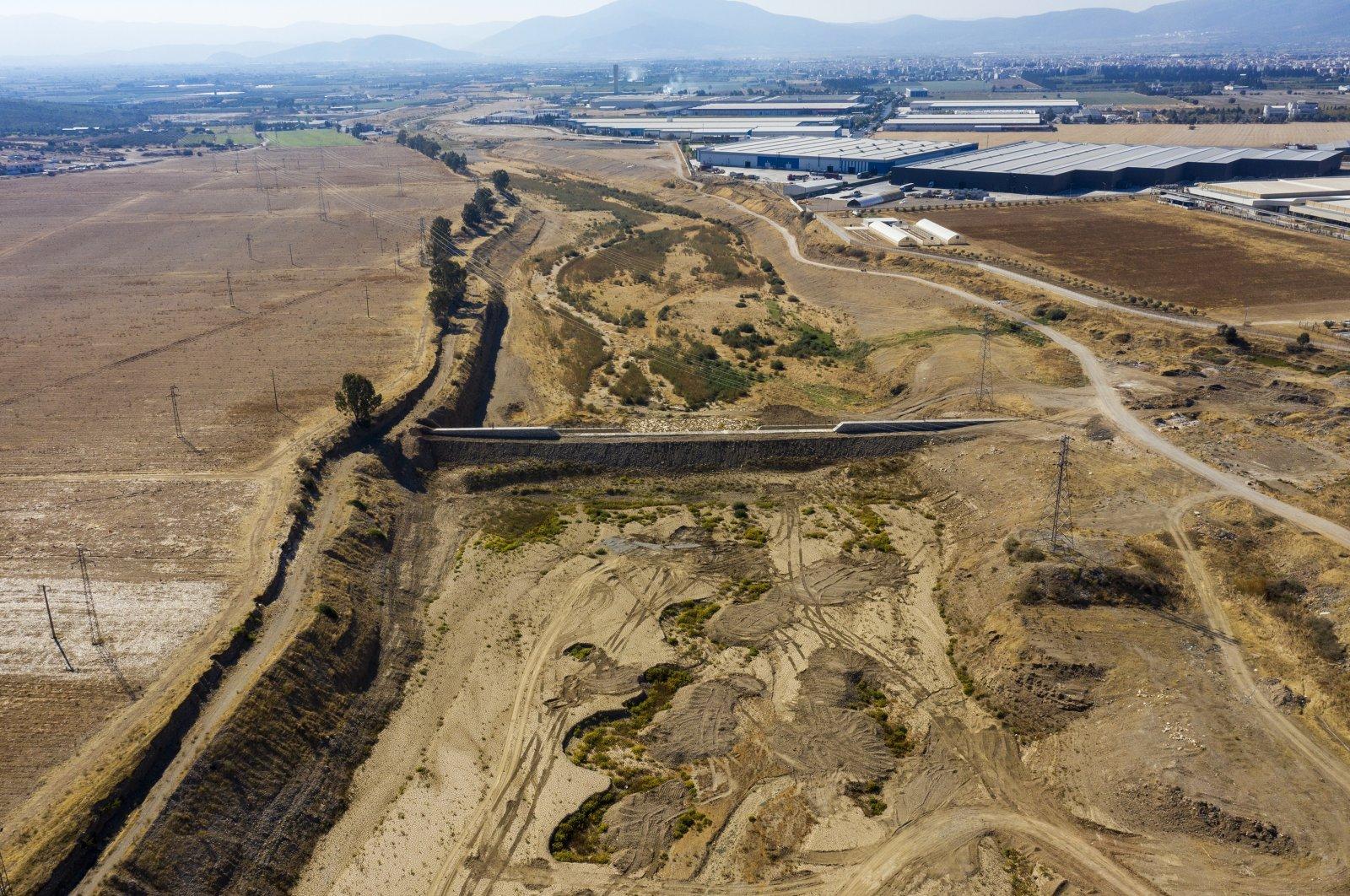 An aerial view of an underground dam, in Izmir, western Turkey, Oct. 9, 2021. (AA PHOTO)