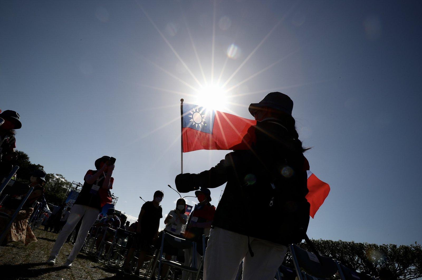 Taiwanese people attend National Day celebrations in Taipei, Taiwan, Oct. 10, 2021. (EPA Photo)