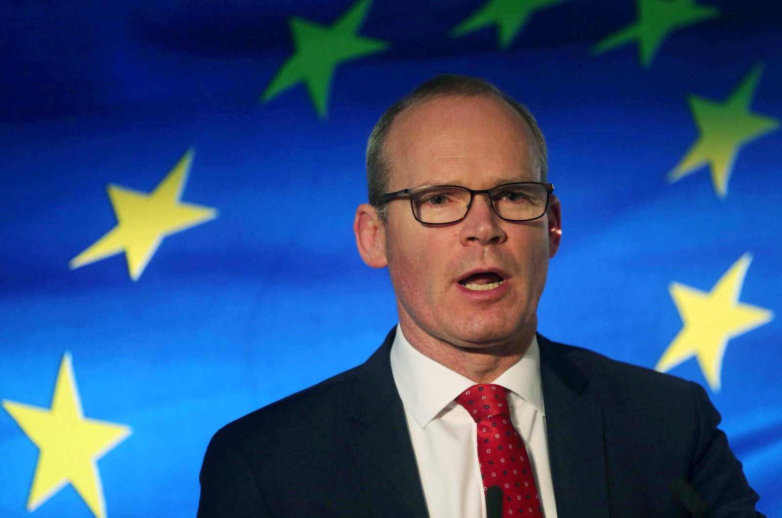 Irish Minister for Foreign Affairs Simon Coveney speaks at the launch of his party's manifesto for the Irish General Election in Dublin, Ireland, Jan. 24, 2020. (Reuters Photo)