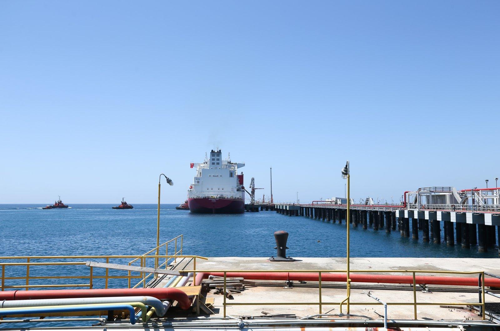 Turkey's first floating storage and regasification unit (FSRU) Ertuğrul Gazi is seen at the port in Dörtyol in Turkey's southern province of Hatay, Turkey, April 22, 2021. (AA Photo)