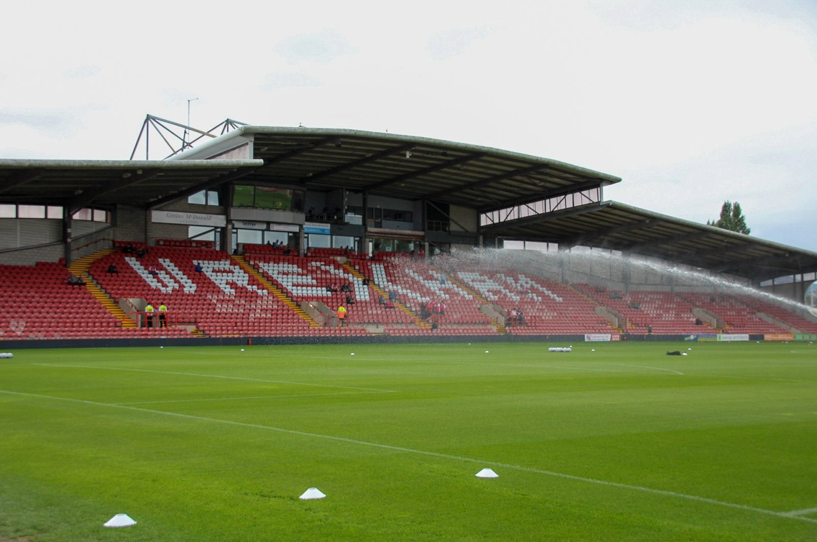 A view of Wrexham's Racecourse Ground, in Wrexham, Wales, Sept. 11, 2021. (AP PHOTO)