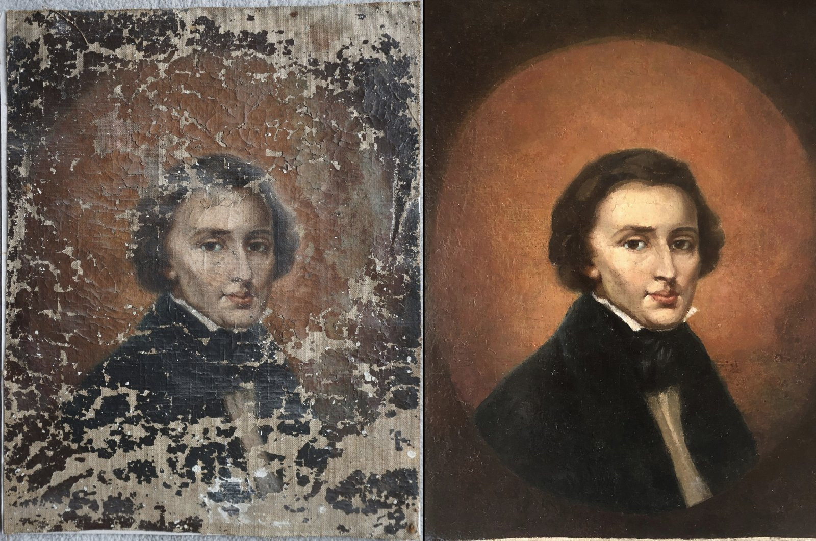This combination of undated photos shows a portrait of Polish composer Frederic Chopin before and after restoration. (Dariusz Markowski and Jaroslaw Golebiowski via AP)