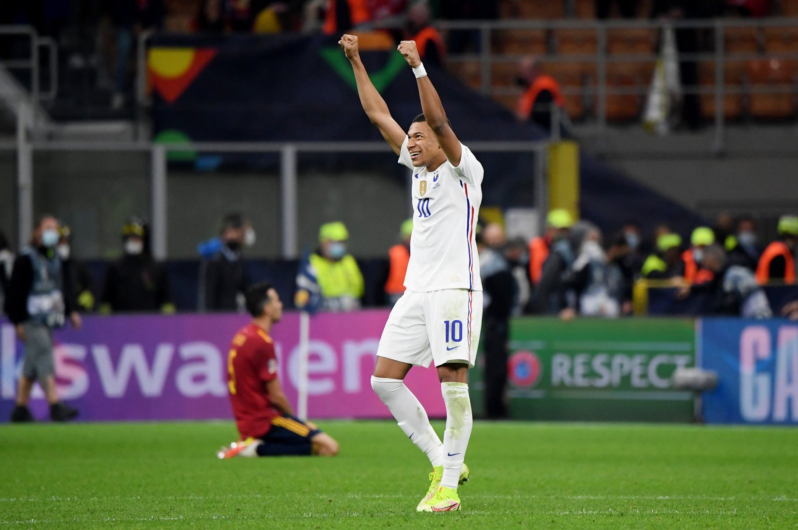 France's Kylian Mbappe celebrates after winning the Nations League final, Oct. 10, 2021. (Reuters Photo)