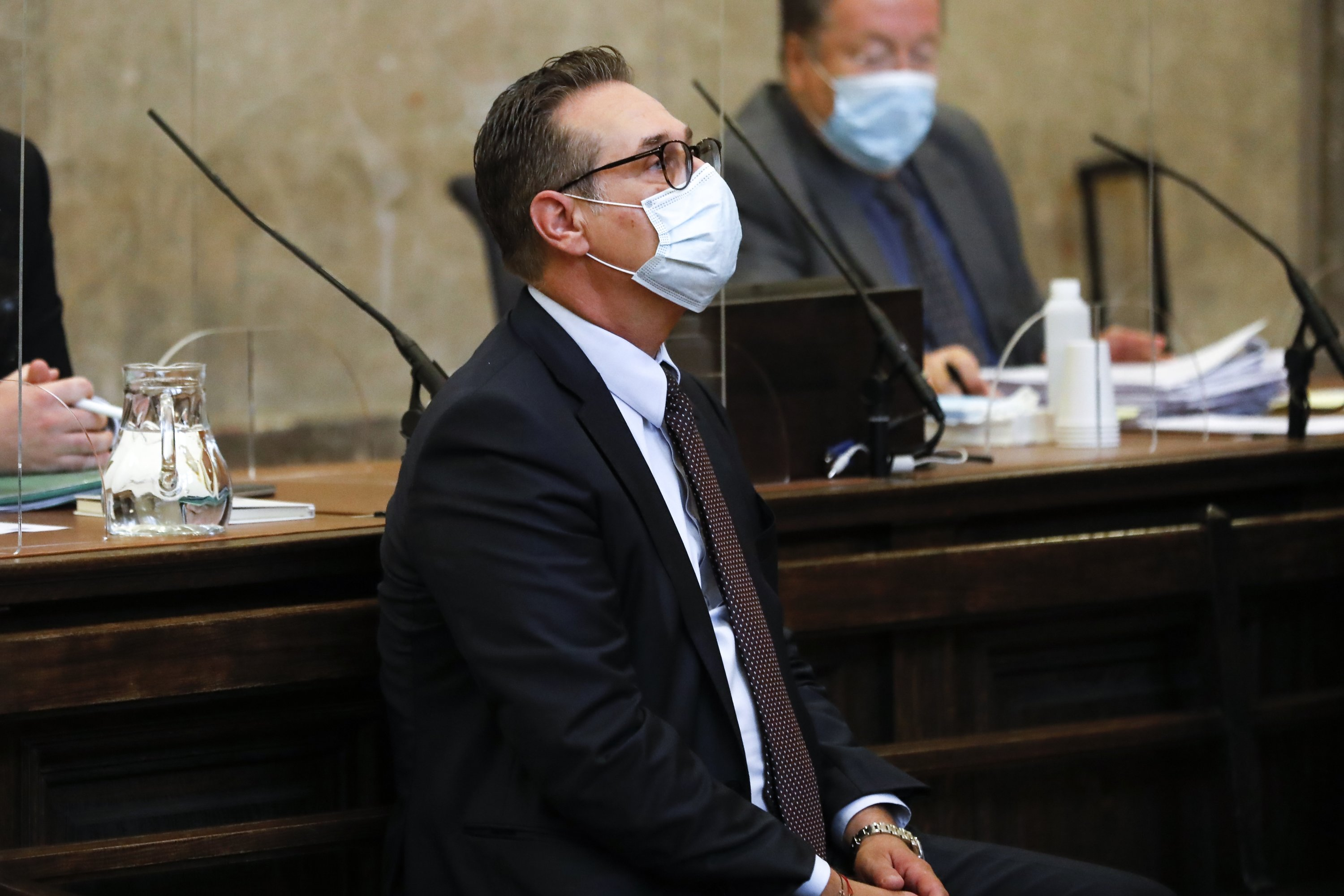 Former Freedom Party (FPO) leader Heinz-Christian Strache waits for the start of a trial in a courtroom in Vienna, Austria, July 9, 2021. (AP Photo)