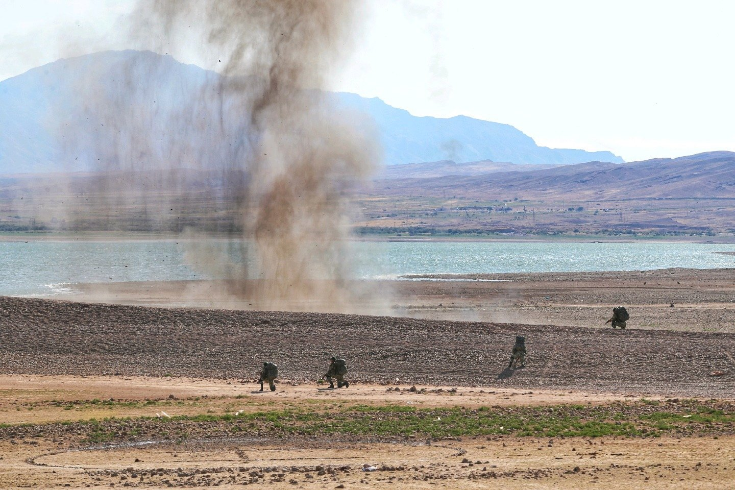 A military exercise by the Iranian army in the northwest of Iran, close to the border with Azerbaijan, Oct. 1, 2021. (EPA Photo)