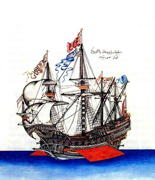 Kemal Reis'in savaş gemisi Jok'un resmi.  (Wikimedia Resimleri)