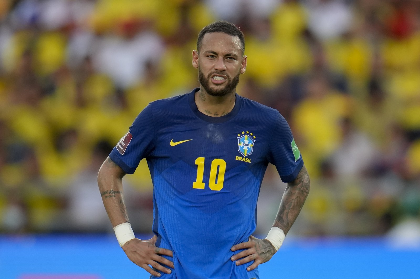Brazil's Neymar gestures during a FIFA World Cup Qatar 2022 qualifier against Colombia in Barranquilla, Colombia, Oct. 10, 2021. (AP Photo)