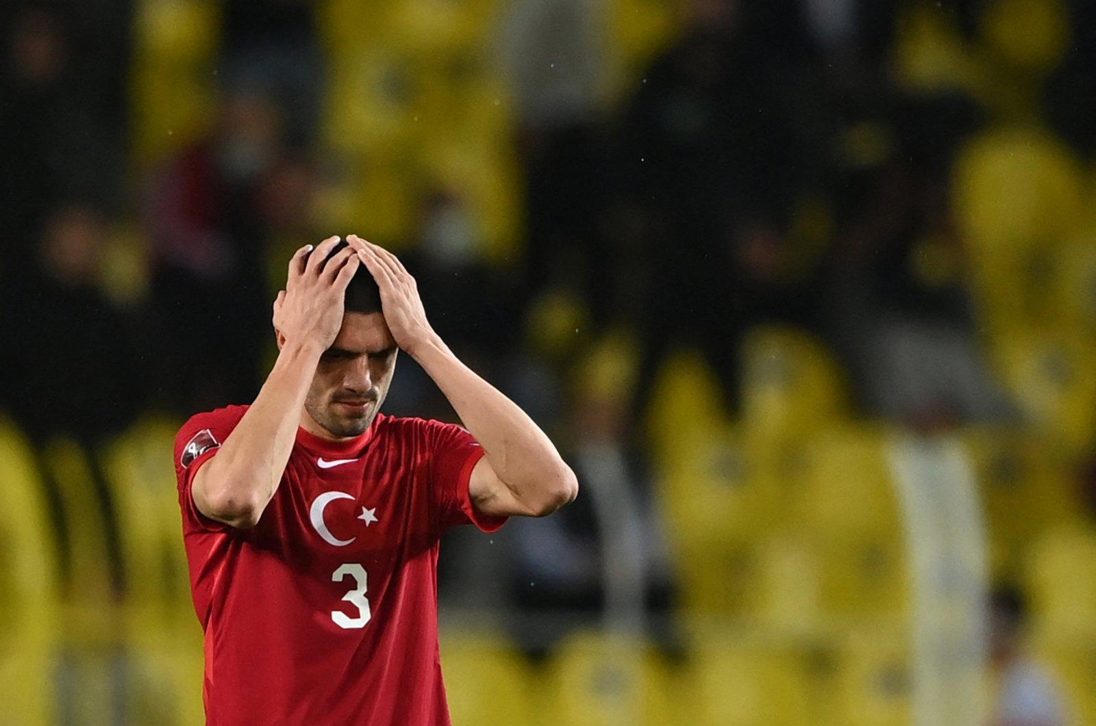 Turkey's Merih Demiral reacts during a World Cup 2022 qualifier match against Norway at the Şükrü Saraçoğlu Stadium in Istanbul, Turkey, Oct. 8, 2021. (AFP Photo)