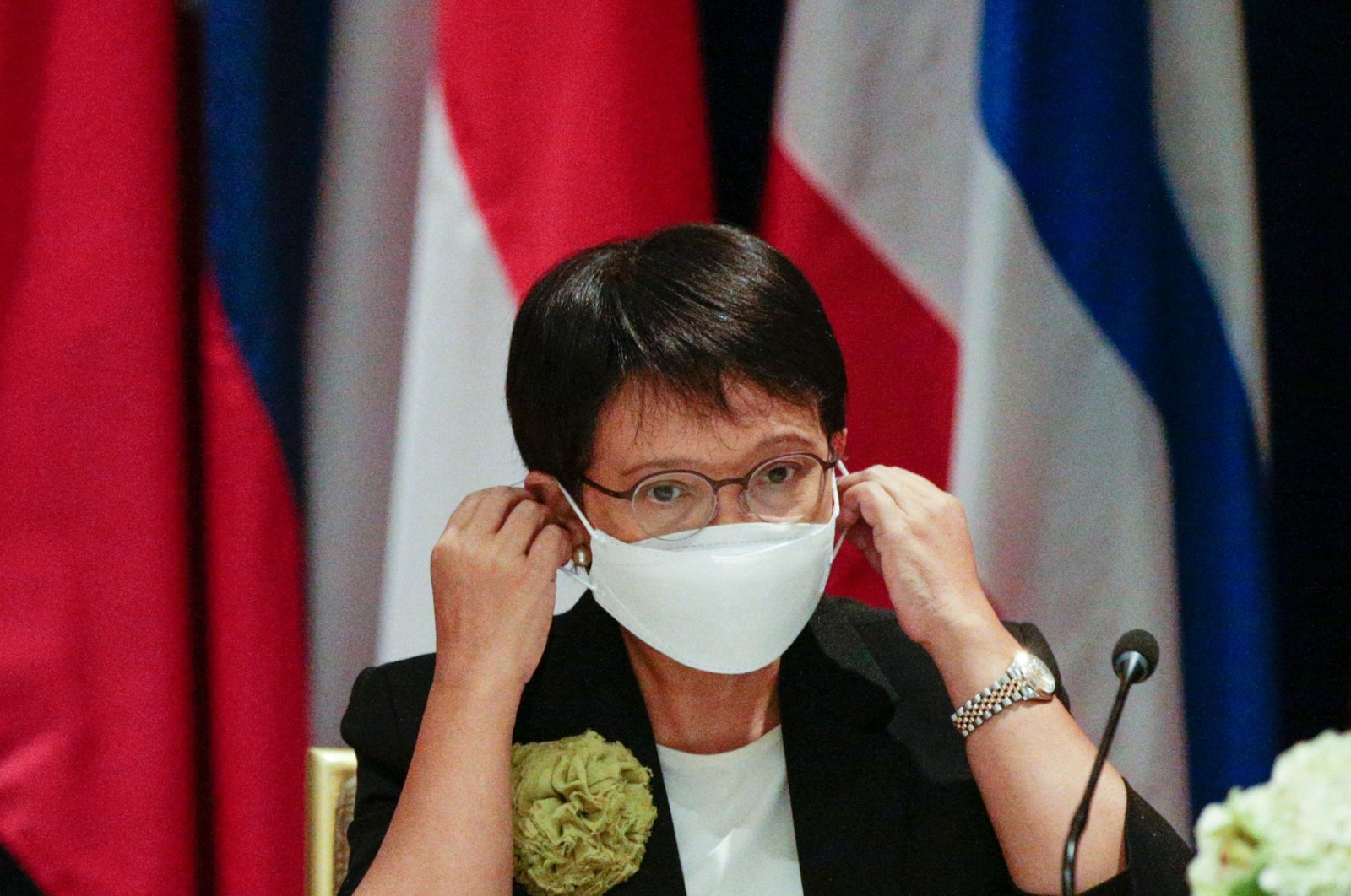 Indonesian Foreign Minister Retno Marsudi attends a meeting with foreign ministers of the ASEAN nations in New York, U.S., Sept. 23, 2021. (AFP Photo)