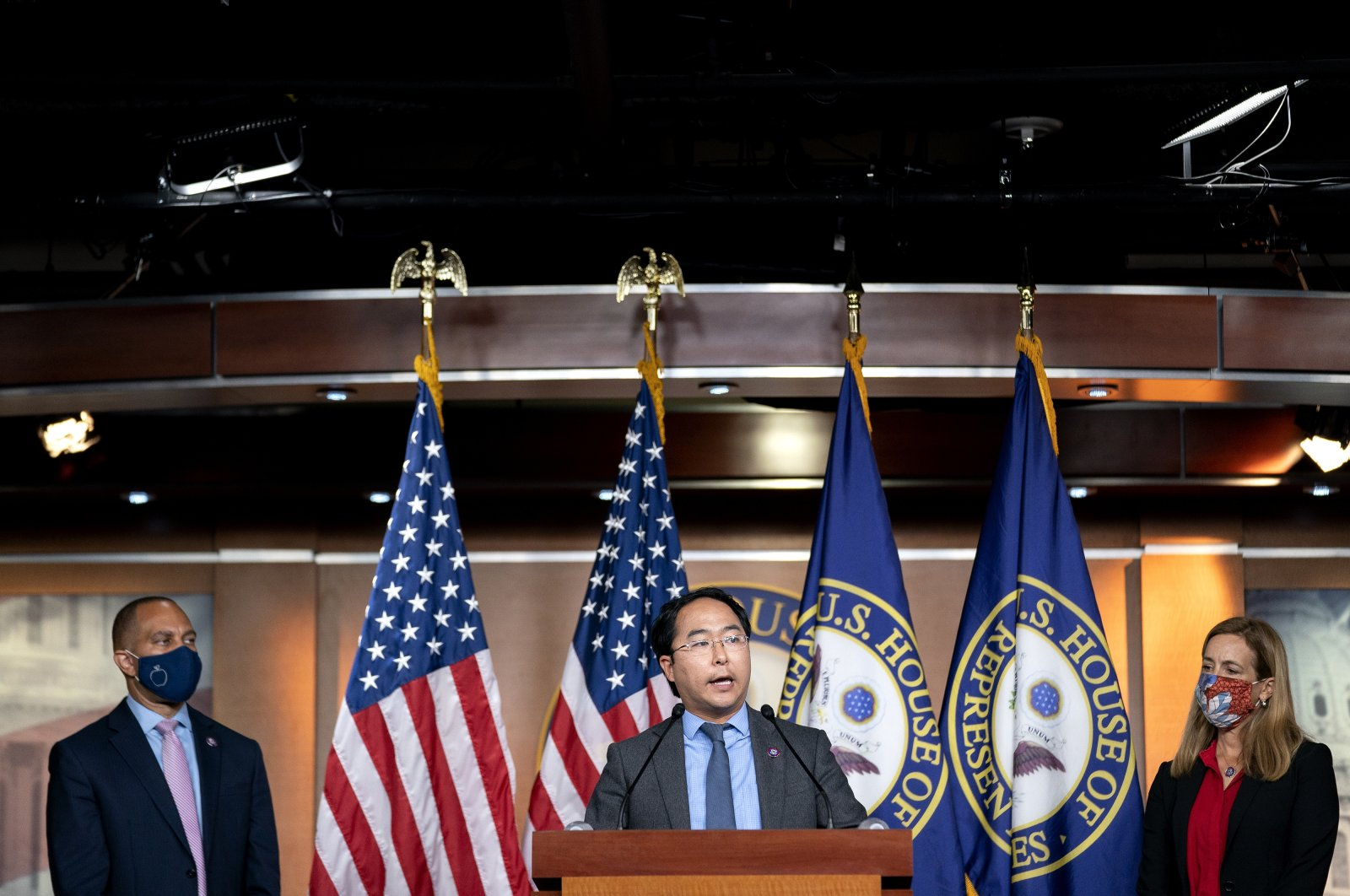 Representative Andy Kim, a Democrat from New Jersey, center, speaks during a news conference at the U.S. Capitol in Washington, D.C., U.S., Aug. 24, 2021. (Getty Images)