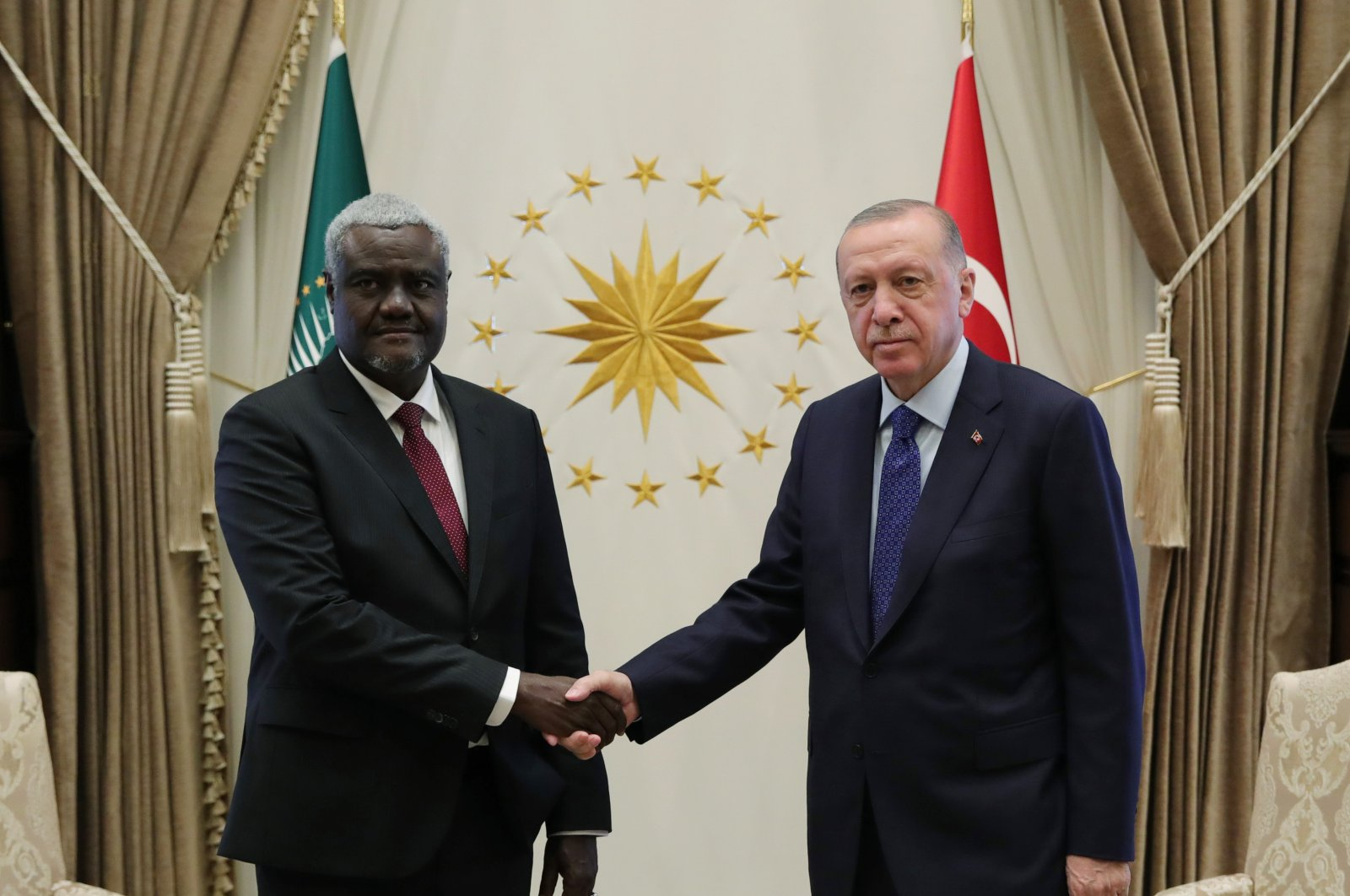 President Recep Tayyip Erodğan (R) receives African Union Commission Chair Moussa Faki Mahamat in the capital Ankara, Turkey, Sept. 30, 2021. (AA Photo)