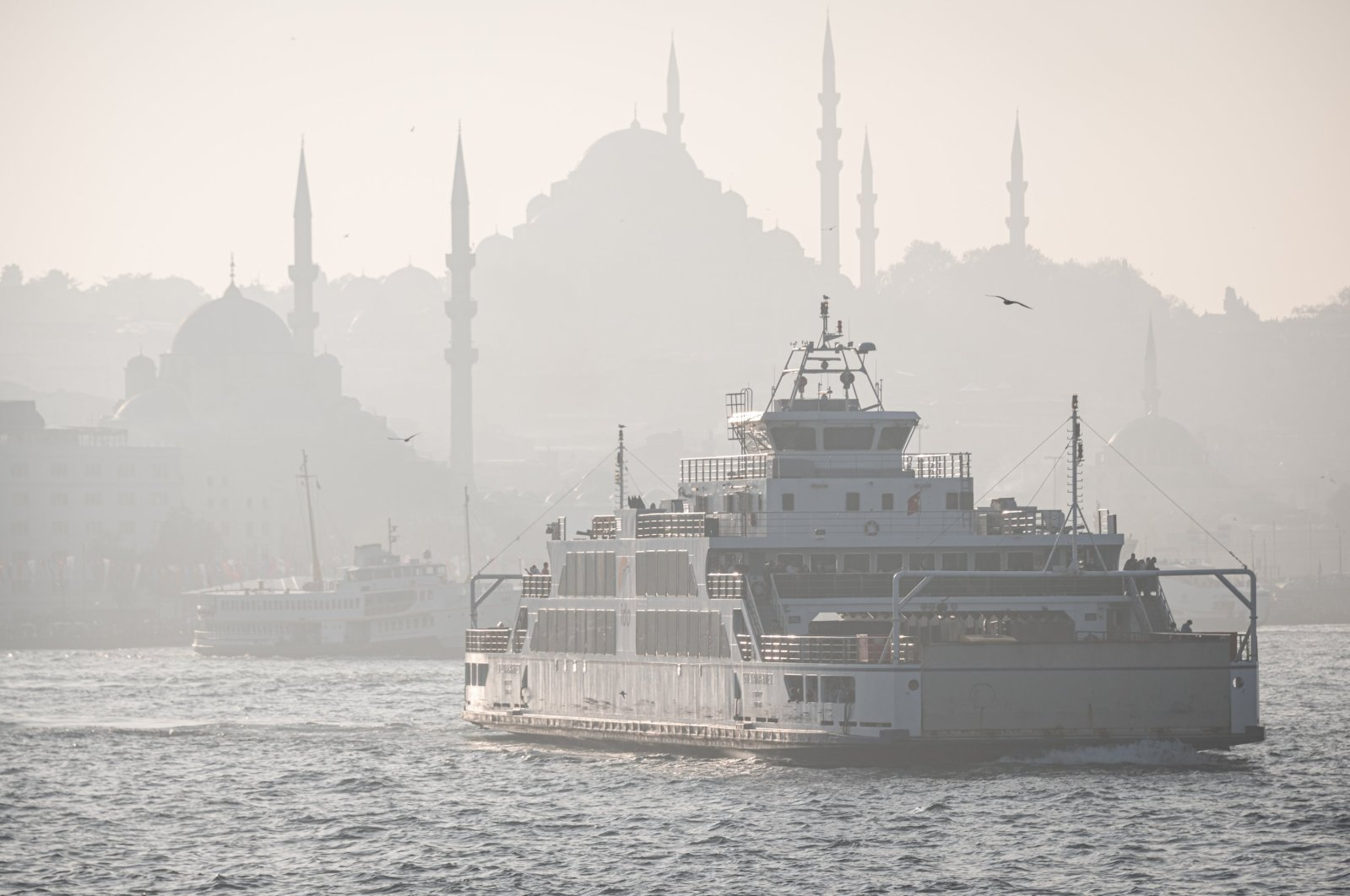 A ferry navigates the Golden Horn amid low visibility caused by air pollution in Istanbul, Turkey, Oct. 24, 2020. (Photo by Getty Images)