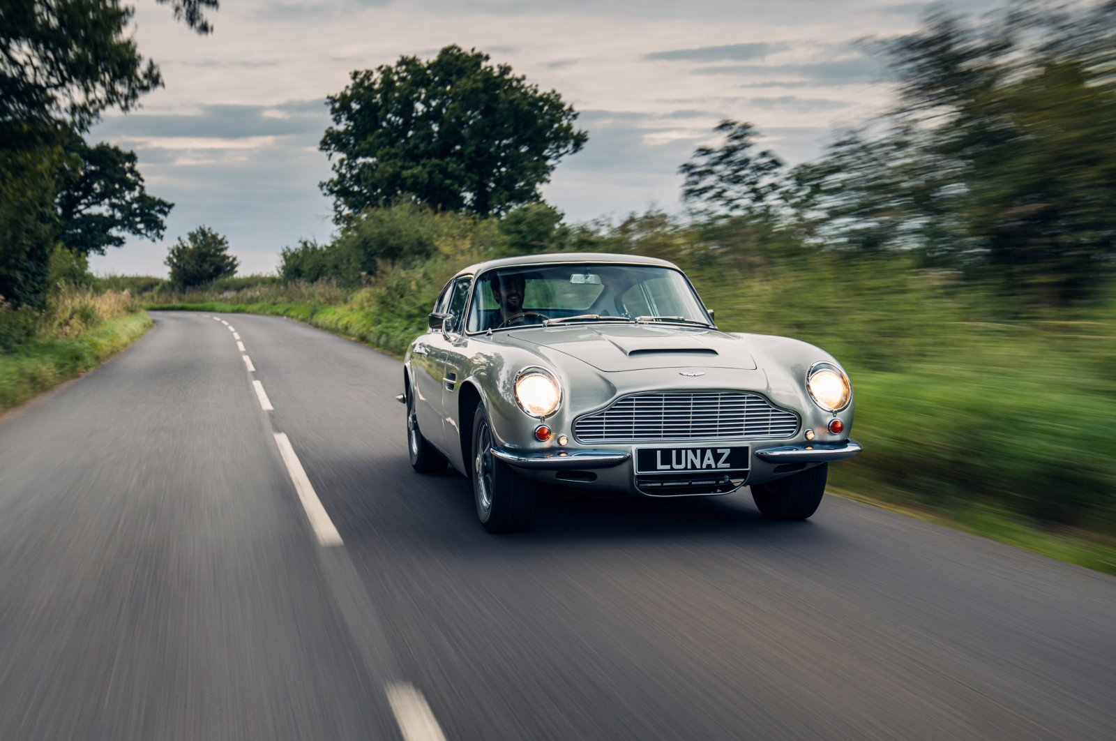 An Aston Martin DB6 is seen in this undated handout picture provided by Lunaz, a company that turns classic gasoline-powered cars into electric vehicles, in Silverstone, U.K. (Lunaz via Reuters)