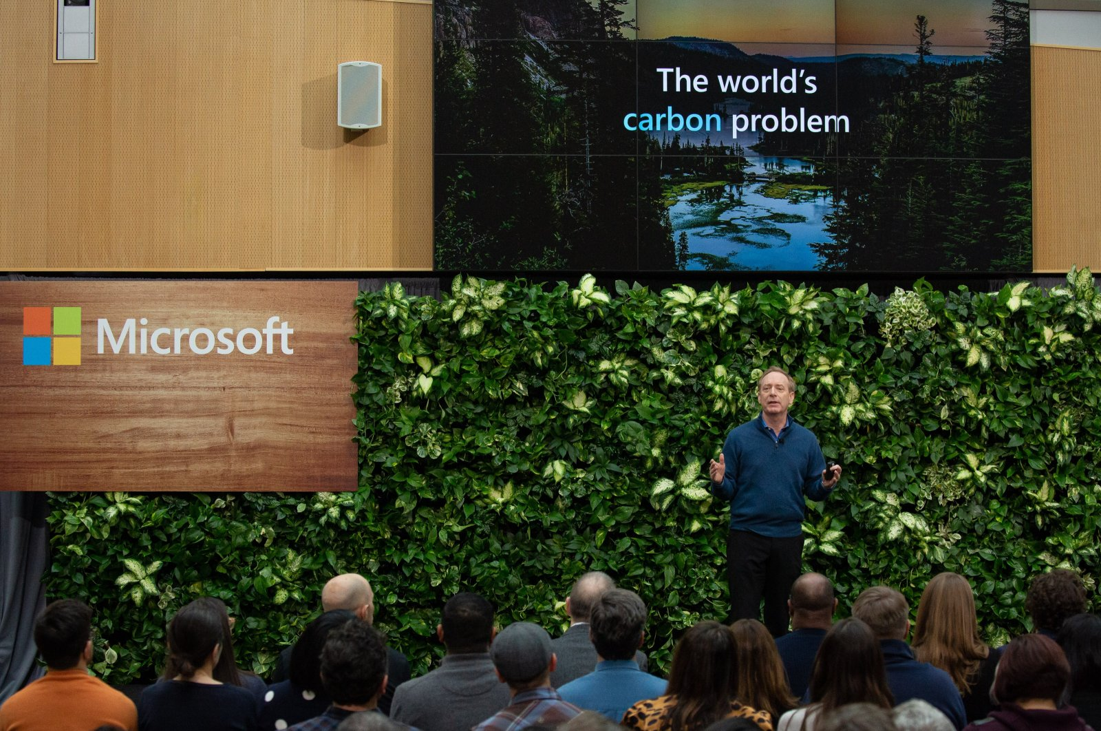 Brad Smith, president of Microsoft, speaks during a climate initiative event at the Microsoft campus in Redmond, Washington, U.S., Jan. 16, 2020. (Getty Images)
