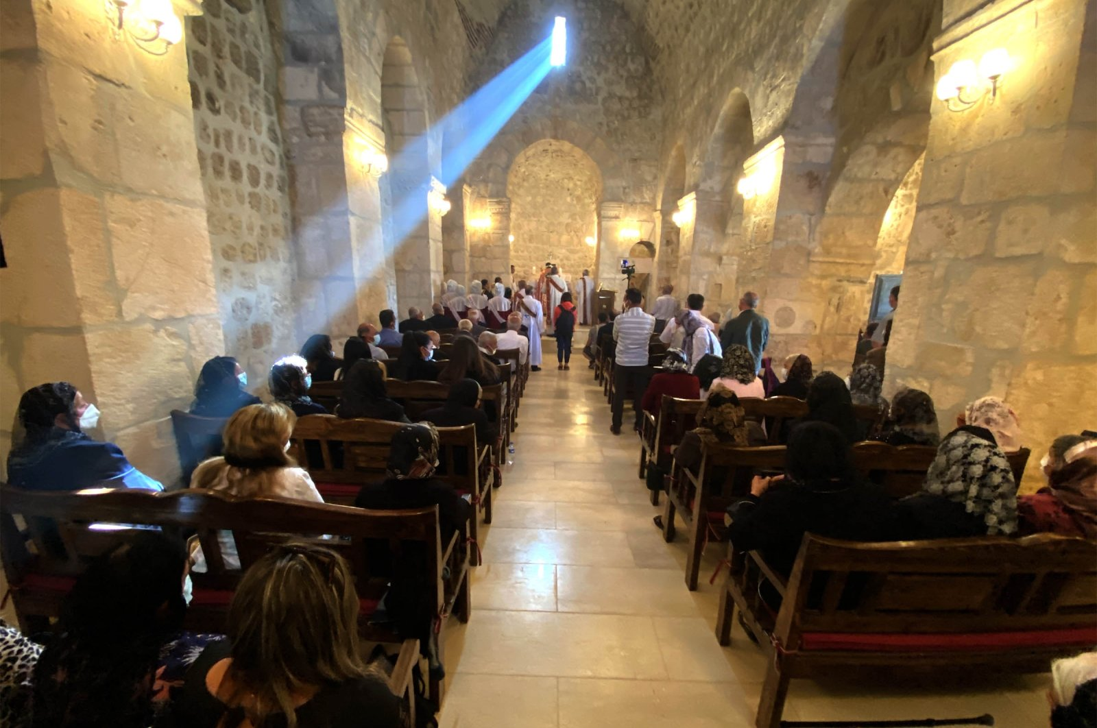 The opening ceremony of the 1,700-year-old Mor Dimet Church, Mardin, southeastern Turkey, Oct. 11, 2021. (DHA Photo)