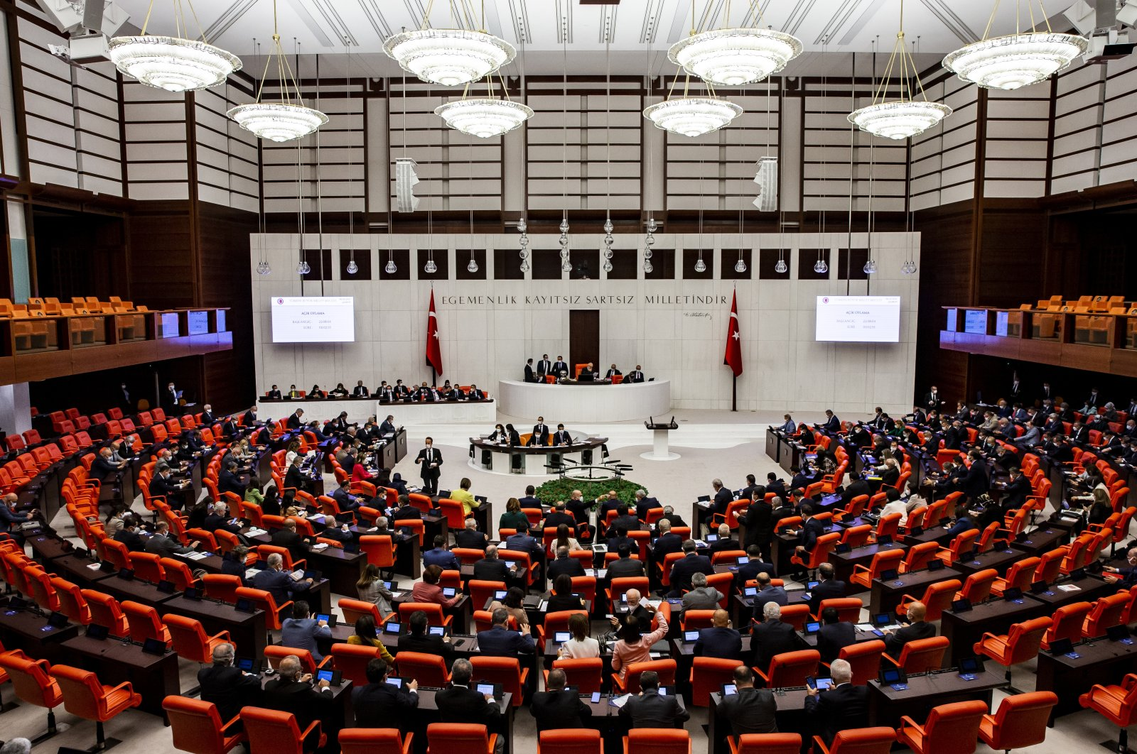 Lawmakers attend a meeting for the approval of the Paris Agreement at Parliament, capital Ankara, Turkey, Oct. 7, 2021. (AA Photo)