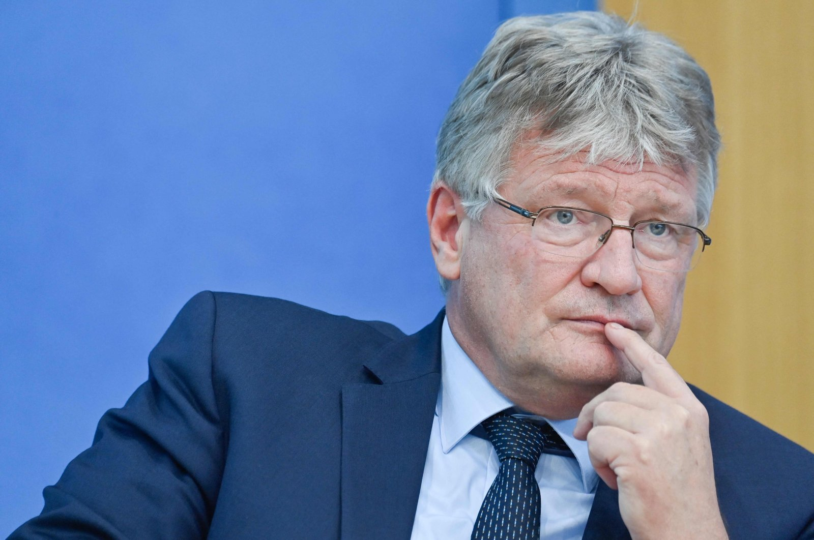 Co-leader of the far-right Alternative for Germany (AfD) party Joerg Meuthen during a press conference in Berlin, one day after general elections, Germany, Sept. 27, 2021. (AFP Photo)