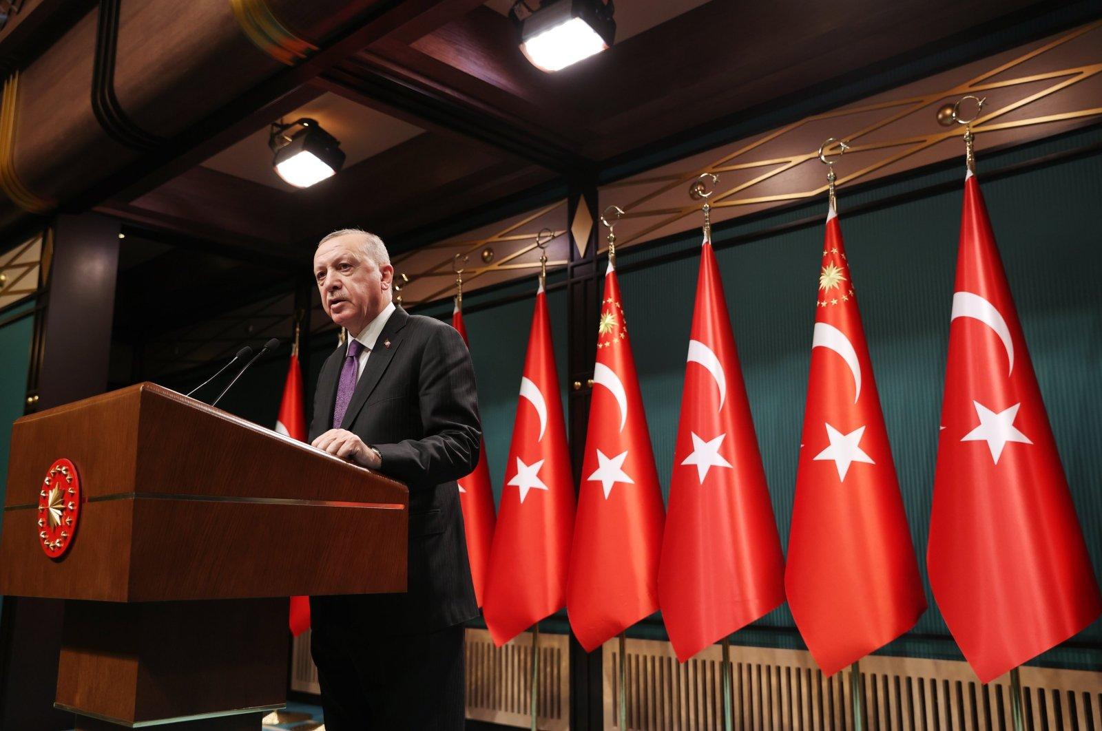 President Recep Tayyip Erdoğan gives a speech at the Presidential Complex in Ankara, Turkey, Feb. 1, 2021 (AA File Photo)
