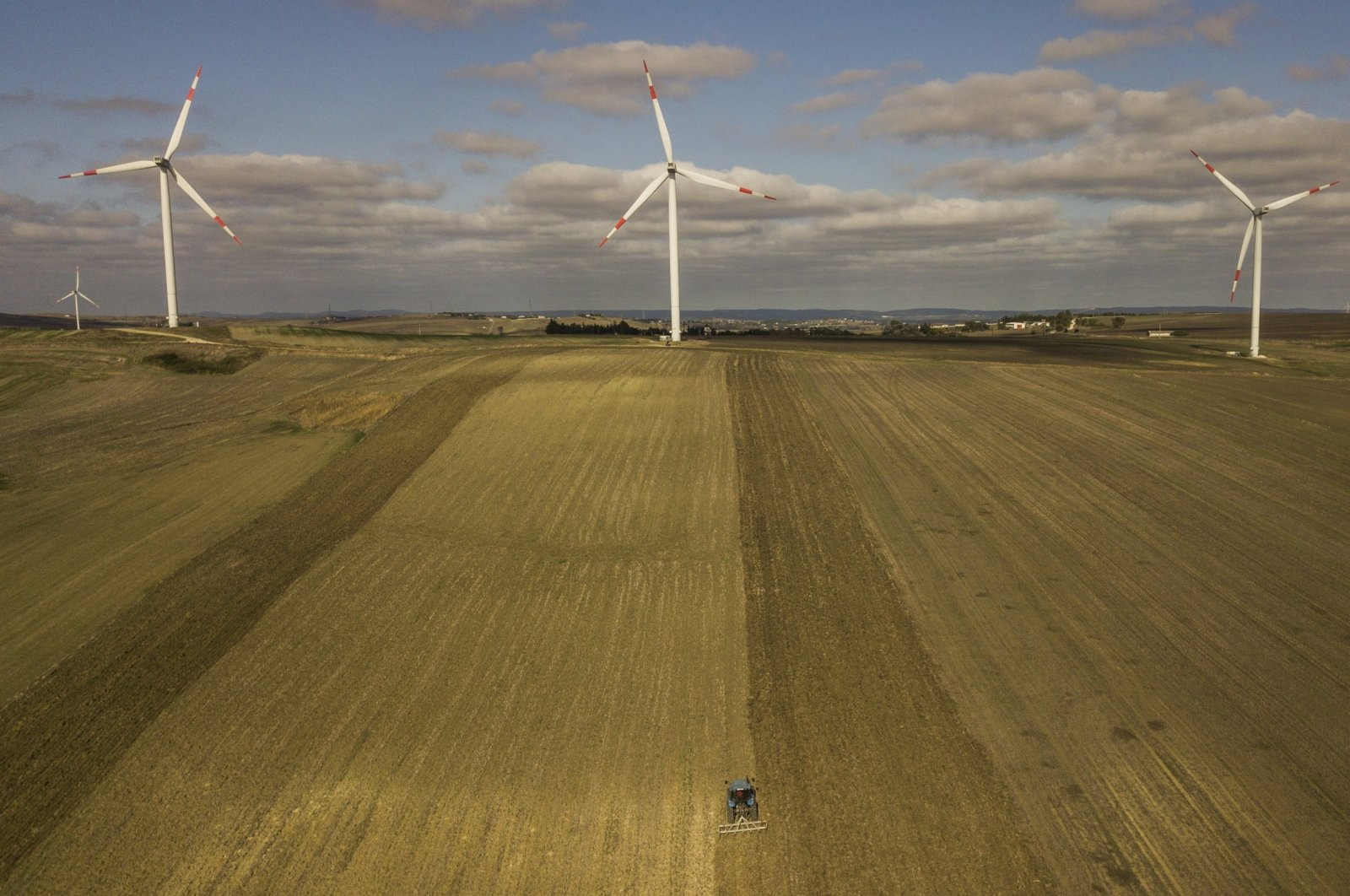 An aerial view taken by a drone shows wind turbines in the countryside of Istanbul, Turkey, Oct. 22, 2020. (EPA File Photo)