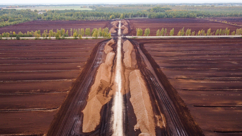An aerialview of peat fields in Elva, Estonia, Sep. 30, 2021. (Reuters Photo)