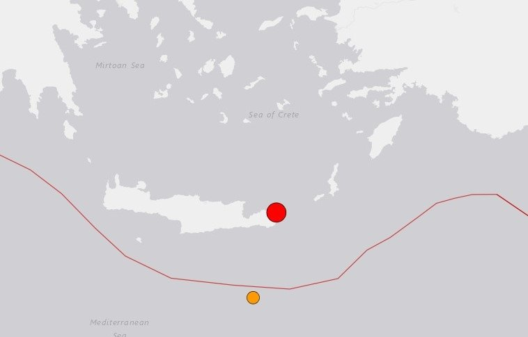 This screengrab from the U.S. Geological Survey (USGS) shows the location of the Cretan earthquake.