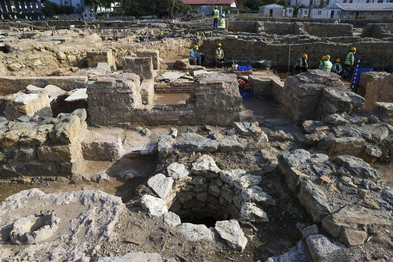 A well is seen at the Haydarpaşa excavation area in Kadıköy, Istanbul, on Oct. 12, 2021. (AA Photo)