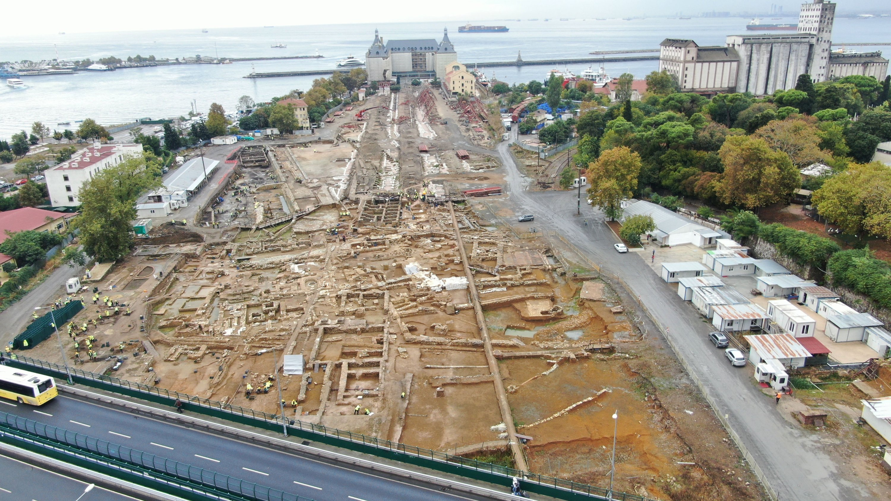 Ancient artifacts are seen at the Haydarpaşa excavation area in Kadıköy, Istanbul, on Oct. 12, 2021. (DHA Photo)