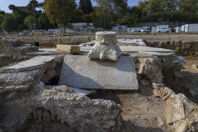 A pedestal is seen among ancient artifacts at the Haydarpaşa excavation area in Kadıköy, Istanbul, on Oct. 12, 2021. (AA Photo)