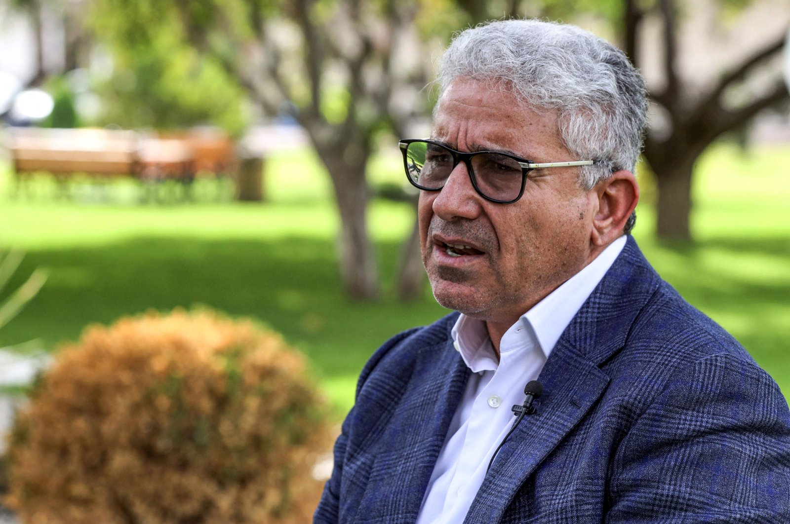Fathi Bashagha, Libya's former interior minister, speaks during an interview with the AFP in the capital Tripoli, Libya, Oct. 6, 2021. (AFP Photo)