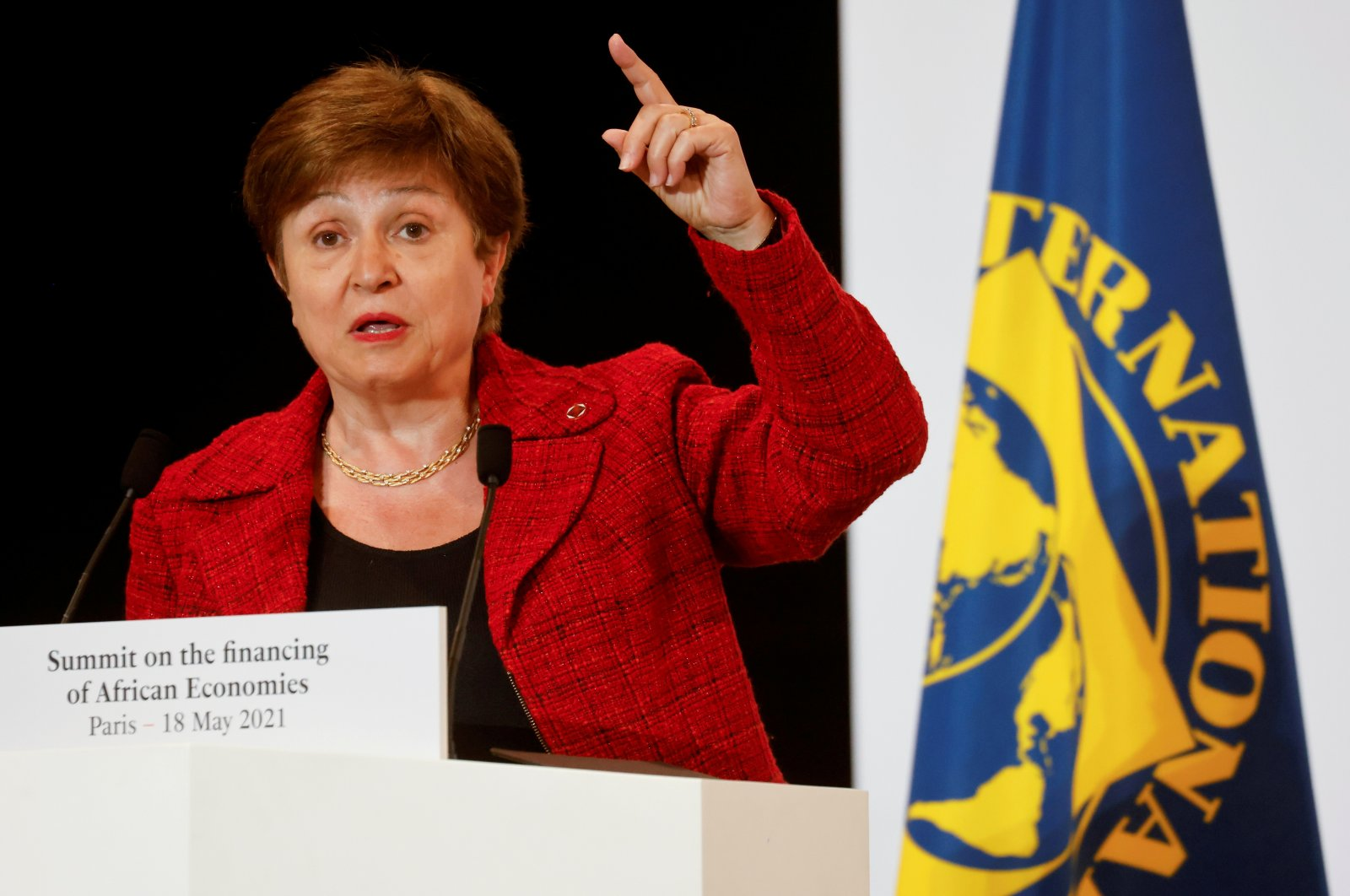International Monetary Fund (IMF) Managing Director Kristalina Georgieva speaks during a joint news conference at the end of the Summit on Financing of African Economies in Paris, France, May 18, 2021. (Reuters Photo)