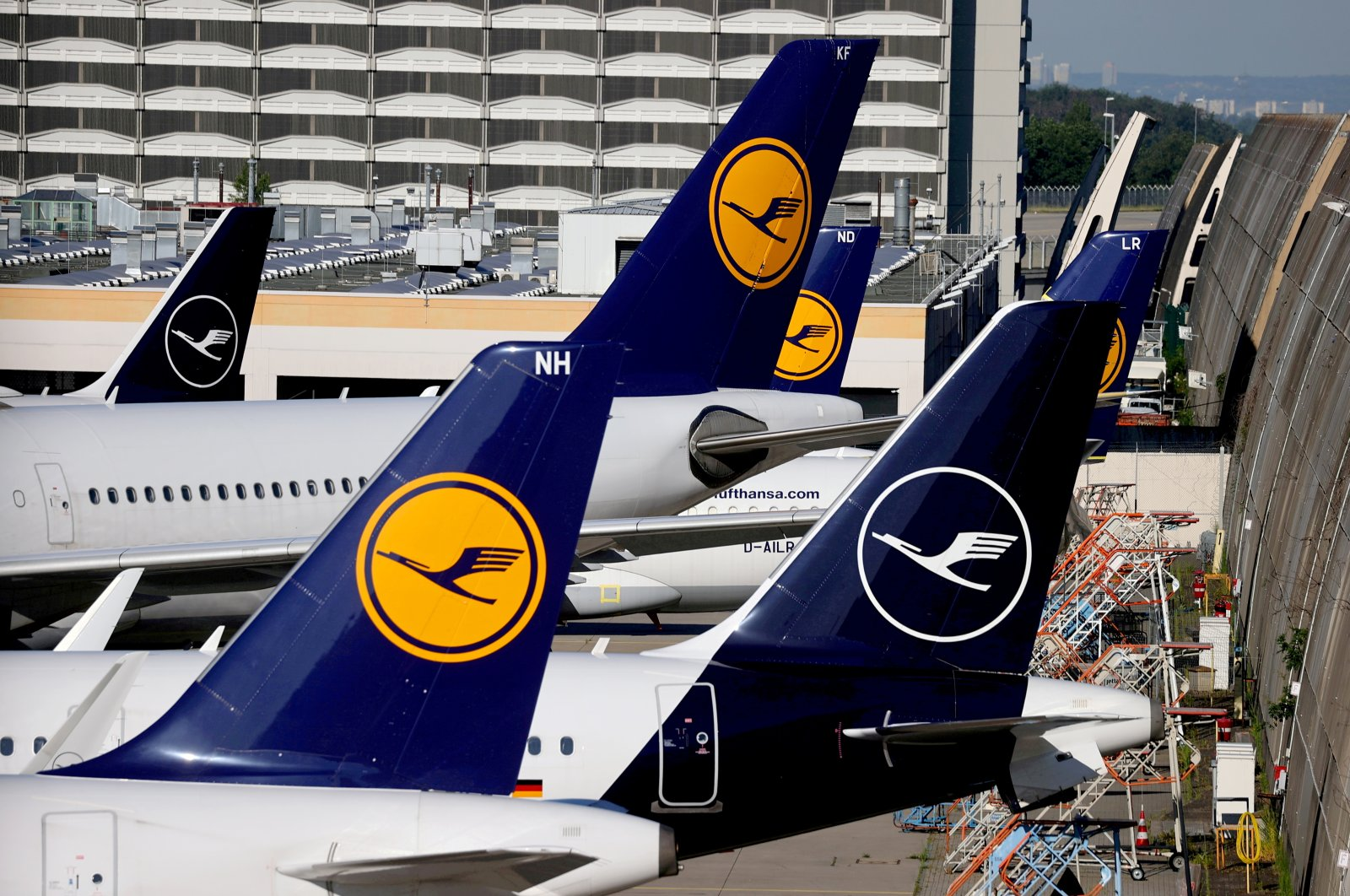 Lufthansa planes are seen parked on the tarmac of Frankfurt Airport, Germany, June 25, 2020. (Reuters Photo)