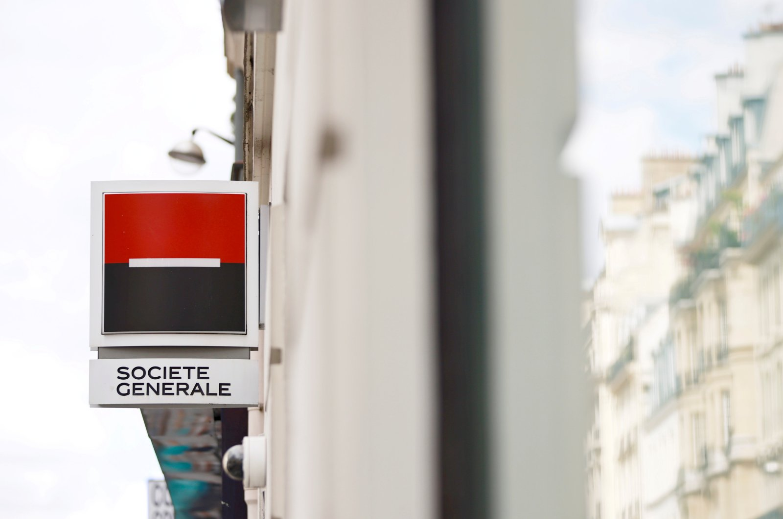 A Societe Generale sign is seen outside a bank building in Paris, France, Aug. 1, 2021. (Reuters Photo)