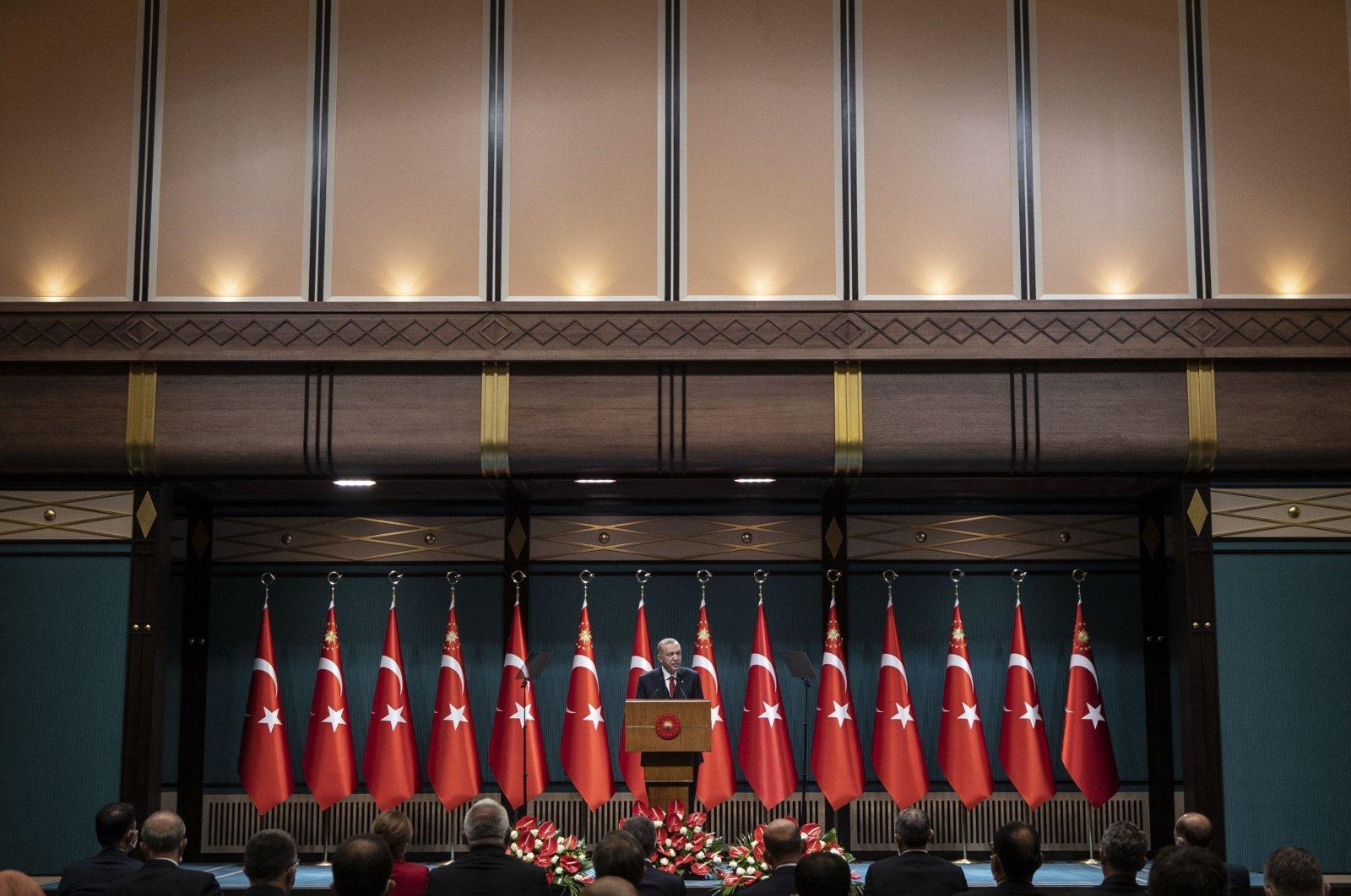 President Recep Tayyip Erdoğan speaks to reporters following a Cabinet meeting in Ankara, Turkey, Oct. 11, 2021. (AA Photo)