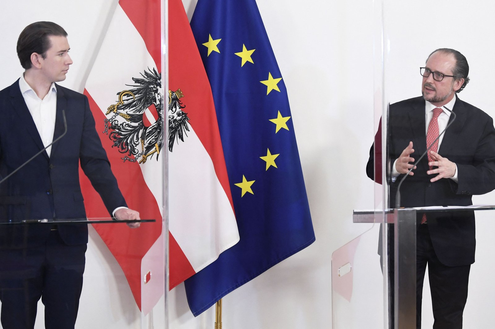 Then Austrian Chancellor Sebastian Kurz (L) and Austrian Foreign Minister Alexander Schallenberg at a press conference following a ministerial council meeting at the Chancellery in Vienna, Austria, April 28, 2021. (AFP Photo)