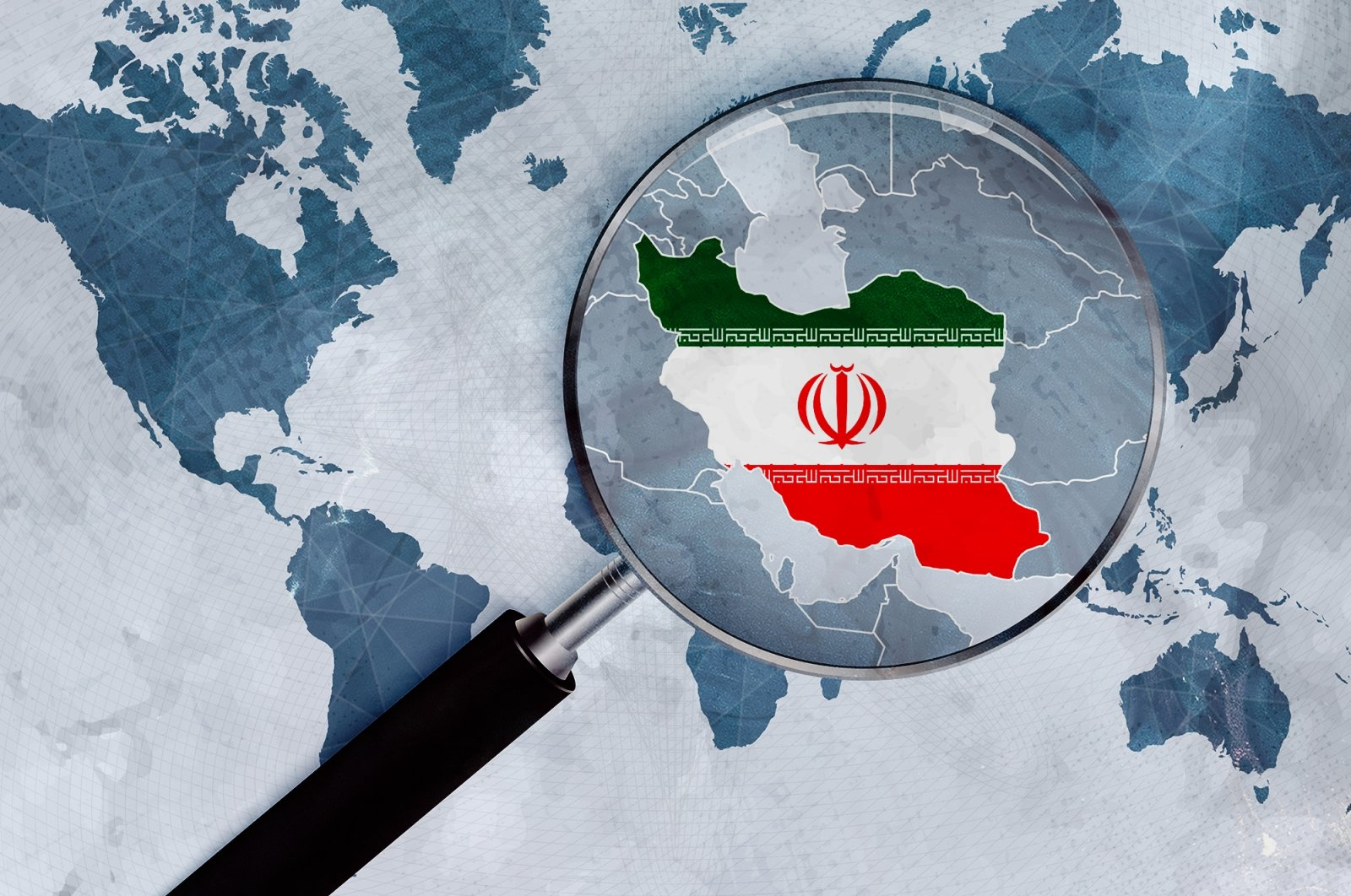 An illustration shows a magnifying glass zooming in on the flag of the Islamic Republic of Iran depicted in the shape of the country on a world map. (Photo by Shutterstock)